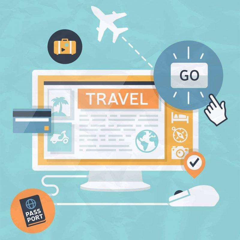 Travel shopping computer interface concept. مهاجرت از آژانس آفلاین به آژانس آنلاین