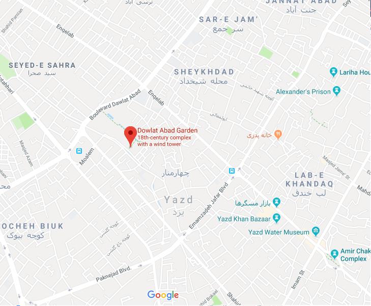 باغ دولت آباد یزد، بلندترین بادگیر جهان