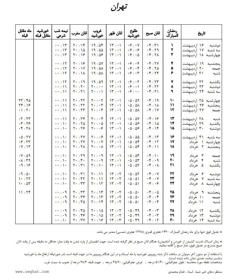 اوقات شرعی تهران مشهد تبریز اصفهان در رمضان 98
