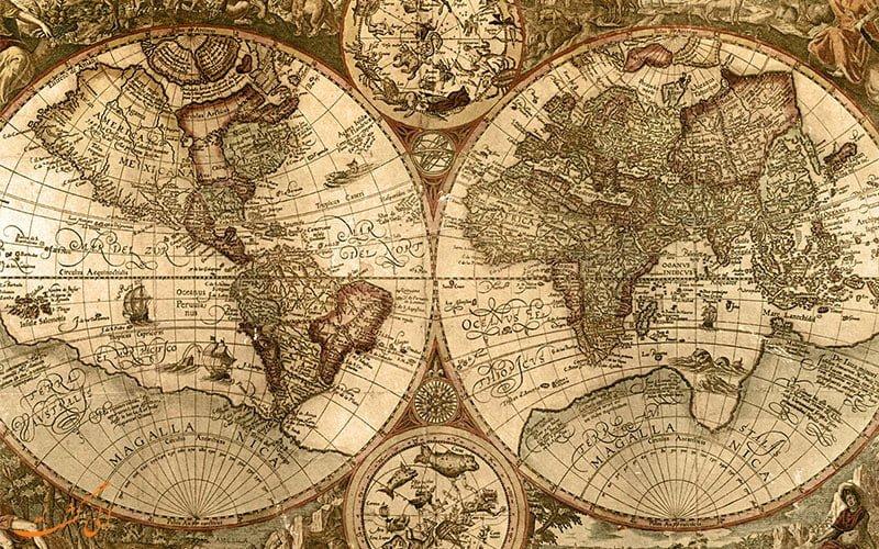 نقشه قدیمی جهان  دلیل وجود جهت شمال در بالای نقشه